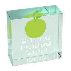 Gift for Teacher Apple Design Crystal Glass Block .