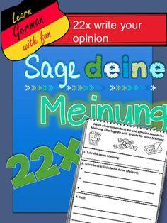 German- State your Opinion- 22 Sage deine Meinung  Tolle Ideen. Schreiben auf Deutsch. Seine Meinung über verschiedene Dinge sagen.