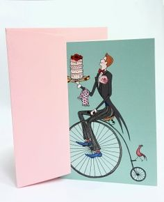 Greetings Card Portrait Card Dimensions on card. Pale pink wallet backed envelope The card is blank inside Printed in the UK Sealed in cellophane ​I created this image using a fine black pen, watercolour and coloured pencils​ Penny Farthing, Dec 2016, Send A Card, Hereford, Coloured Pencils, Blank Cards, All Design, Pale Pink, Watercolour