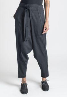 Inaisce Sadhu Drop Crotch Fold Pant in Black