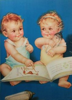 More of Charlotte Becker work, Twins, Triplets: Becker - Four Souls with a Single Thought Baby Images, Baby Pictures, Baby Photos, Baby Illustration, Illustrations, Vintage Artwork, Vintage Prints, Vintage Pictures, Vintage Images