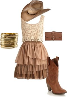 """Cowgirl style"" by raeanmerissa on Polyvore Love it all except the hat."