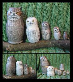 Set of THREE Customized Matryoshka Nesting Dolls by AcuteCat