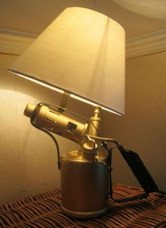 VINTAGE MONITOR BRASS BLOW LAMP, TABLE LAMP UPCYCLED RECYCLED BESPOKE STEAM PUNK
