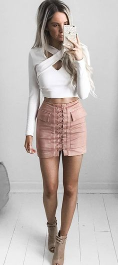 beautiful outfit idea top + skirt
