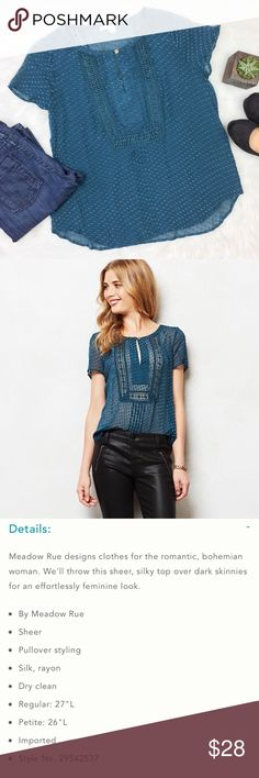 Anthropologie Meadow Rue Grassland Blouse Anthropologie Meadow Rue Grassland blouse. Size large. Approximate measurements flat laid are 25' long & 21' bust. GUC. No major flaws. ❌No trades ❌ Modeling ❌No PayPal or off Posh transactions ❤️ I 💕Bundles ❤️Reasonable Offers PLEASE ❤️ Anthropologie Tops Blouses