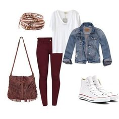 Good combo with the pants, t shirt, jean jacket, and converse