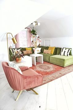 An Attic Room makeover with Bassett Furniture — house on a sugar hill Home Living Room, Living Room Designs, Living Room Decor, Living Spaces, Green Living Room Ideas, Living Room Yellow Accents, Blush Living Room, Retro Living Rooms, Pink Accents