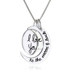 Sterling silver pendant,I Love U to the moon and back