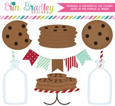 Milk and Cookies Clipart in Red and Aqua Blue – Erin Bradley/Ink Obsession Designs