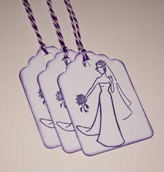 Bridal Shower Tags Set of 25 Purple wedding favor by BindingMyTime, $8.50