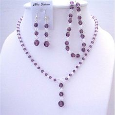 Fashion Jewelry For Everyone Collections Custom Amethyst Clear Crystals Necklace Earring Bracelet Set