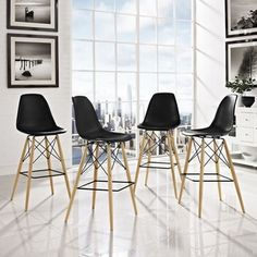 2xhome - Black - Eames Chair Style DSW Molded Plastic Bar Stool Modern Barstool Counter Stool with back | Overstock.com Shopping - The Best Deals on Bar Stools