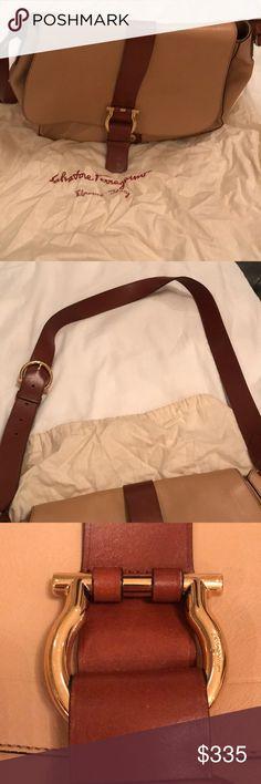 Salvatore Ferragamo Beige/Brown Leather Crossbody Gently used Salvatore Ferragamo Bags Crossbody Bags