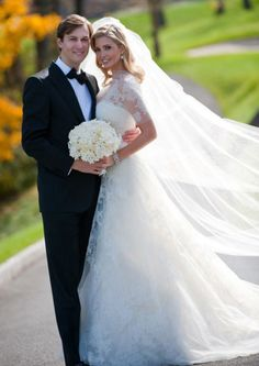 On October 25th, 2009, Donald and Ivana Trump's daughter, Ivanka Trump married her longtime boyfriend Jared Kushner at the Trump National Golf Club in Bedminster, New Jersey. Her stunning gown with chantilly lace sleeves was custom made by Vera Wang. The dress was later added to Vera's Luxe Collection and is called the Esther. Vera Wang gowns are sold at The Bridal Salon at Saks Jandel.