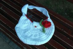 Crochet purse with rose pin and rose button