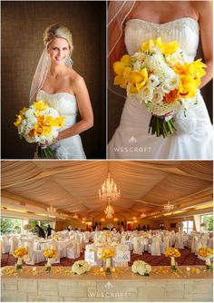 Yellow, White   Gray Wedding Flowers | Meson Sabika Wedding | Naperville Wedding Florist