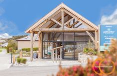 A new oak framed reception area and additional accommodation at Polmanter Touring Park, close to our Cornish Yard. Oak Framed Buildings, Oak Frame House, Local Contractors, St Ives, Grand Designs, Reception Areas, Campsite, Cornwall, Touring