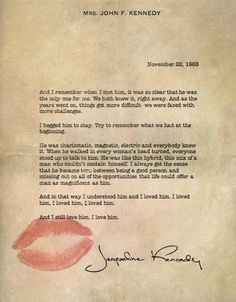 Jackie Kennedy's letter to JFK the day of his Assassination.