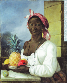 """This rare painting of a slave by Canadian artist François Malépart de Beaucourt, titled """"Portrait of a Haitian Woman,"""" currently hangs at the Montreal Museum of Fine Arts. It is believed that de Beaucourt completed the work in Saint Domingue, the French colony that is now Haiti, in 1786, and that the woman in the painting was brought as a slave to Montreal in 1792. The portrait provides a brief glimpse into Canada's history of slavery. (Courtesy McCord Museum)"""