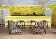 La Banane on St. Barts - exclusive retro-chic hotel (bungalows) --- awesome walls!