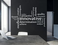 Wall Art Decal Innovative Workplace Word Cluster Business Work Office Warehouse Company Motivational Inspirational Innovate by SoundSayings on Etsy ideas BusinessVinyl. Office Wall Graphics, Office Wall Decals, Office Wall Design, Office Interior Design, Corporate Office Design, Office Interiors, Modern Interior, Word Cluster, Innovation