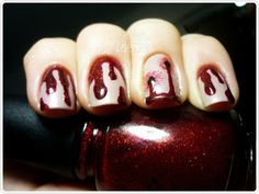 Vampire inspired nail art, how cool is this? #halloween
