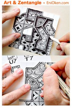 """Fragmented Windows Lesson now back again — Eni Oken Fragmented Windows Lesson now back again — Eni Oken,Zentangle-Muster """"Fragments"""" is Zentangle's name for the basic repeating unit of a pattern. If you are wondering. Zentangle Patterns For Beginners, Easy Zentangle Patterns, Doodle Patterns, Tangle Doodle, Tangle Art, Zen Doodle, Doodle Art, Zentangle Drawings, Doodles Zentangles"""