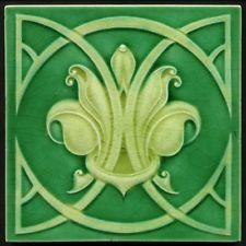 TH2880 Rare Art Nouveau Majolica Tile Near Perfect Richards c.1908