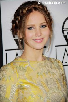 Jennifer Lawrence Sports Milkmaid Braids