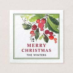 Merry Christmas | Watercolor Christmas Florals Paper Napkin
