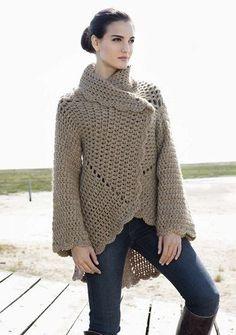 Lana Grossa Crochet Jacket - Free Crochet Pattern - (lanagrossa) Becky make this! Gilet Crochet, Crochet Jacket, Crochet Cardigan, Knit Or Crochet, Crochet Scarves, Crochet Shawl, Crochet Clothes, Crochet Sweaters, Lace Jacket
