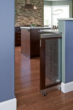 For a family with three Italian greyhounds (with three different eating styles), the designer of this contemporary kitchen incorporated three distinct pet-feeding stations throughout the space. A glass and mahogany door, which perfectly complements the kitchen's sleek style, slides out to separate the pups.