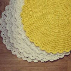 White and yellow crochet kitchen decoration