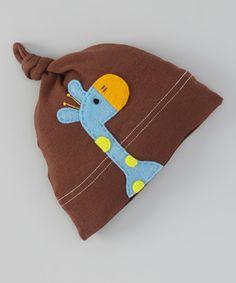 Look at this #zulilyfind! Brown & Aqua Giraffe Single-Knot Beanie by Victoria Kids #zulilyfinds