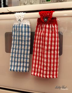 Crochet Top Kitchen Towel Red And White Checkered With Red Topper