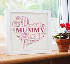 Framed Mummy present from children. This unique birthday present is such a thoughtful way to celebrate Mummy's birthday.    Personalised with the children's names, and all the wonderful things Mummy is loved for.    This special Mummy gift is ADORABLE!!