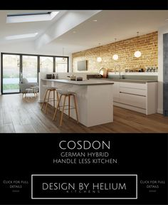Cosdon is the Helium hybrid mixing German styling with British manufacturing. You can enjoy a true handle less kitchen with that distinctive German style; that has been manufactured to only the highest British standards. ***Click through for full details on this stunning style*** #kitchendesign #kitchenideas #handlelesskitchen #contemporarykitchen #modernkitchen #Manchester #Didsbury #KitchensManchester #Kitchendesignservice #Kitchendesigner