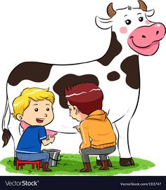 Milking A Cow vector image on VectorStock Cow Clipart, Cow Vector, Kindergarten Classroom Setup, Preschool Education, Bible Activities, Preschool Activities, Happy Birthday Photos, Flashcard, Winter Crafts For Kids
