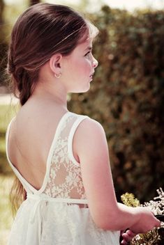 f074dc29eaecb Ivory Lace Flower Girl Dress, Bohemian Wedding, lace flower girl dress,  boho flower girl dress, ivory flower girl, baby flower girl