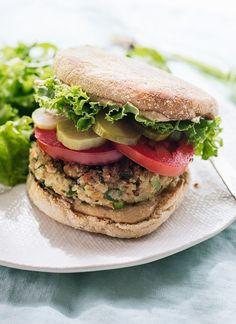Healthy falafel veggie burgers, so good! cookieandkate.com