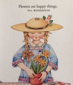 Handmade Fridge Magnet-Mary Engelbreit Artwork-Flowers