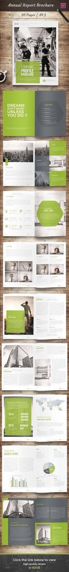 [Inspirations éditoriales] - 20 Pages A4 Annual Report Brochure Template InDesign INDD. Download here: http://graphicriver.net/item/annual-report-brochure/15487461?ref=ksioks
