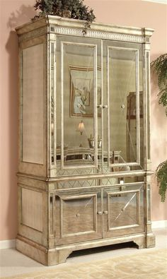 Bassett Mirror - Borghese Hand-Crafted Mirrored Media Armoire w 4 Door Cabinet