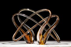 Glass art sculpture hand blown in amber and orange by Scott Hartley of Infinity Art Glass Exposed Brick Kitchen, Infinity Art, Black Thread, Unusual Art, Hand Blown Glass, Diamond Shapes, Aurora, Glass Art, Sculptures