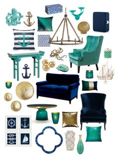 """""""nautical in navy & teal"""" by crystalliora ❤ liked on Polyvore featuring interior, interiors, interior design, home, home decor, interior decorating, Stray Dog Designs, Kevin O'Brien, Barclay Butera and Aviva Stanoff"""