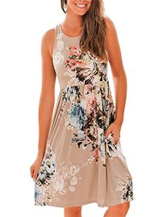 $26.98 2X BROWN OURS Womens Summer Sleeveless Floral Print Racerback Midi Dresses with Pocket