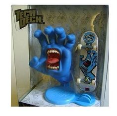 Tech Deck Collector Series, Jim Phillips Screaming Hand Santa Cruz, 96mm Finger Skateboard and Sculpture.