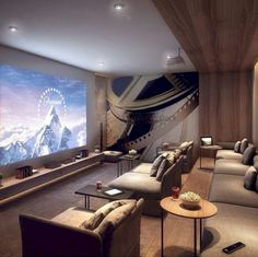 Basement Home Theater (basement ideas on a budget) Tags: basement idea. - Home Theater Rooms Home Theater Basement, Movie Theater Rooms, Home Cinema Room, Home Theater Decor, Home Theater Seating, Home Theater Design, Basement Ideas, Home Theatre Rooms, Movie Rooms