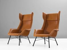 Lounge Chairs in New Leather Upholstery by M. Navratil 2